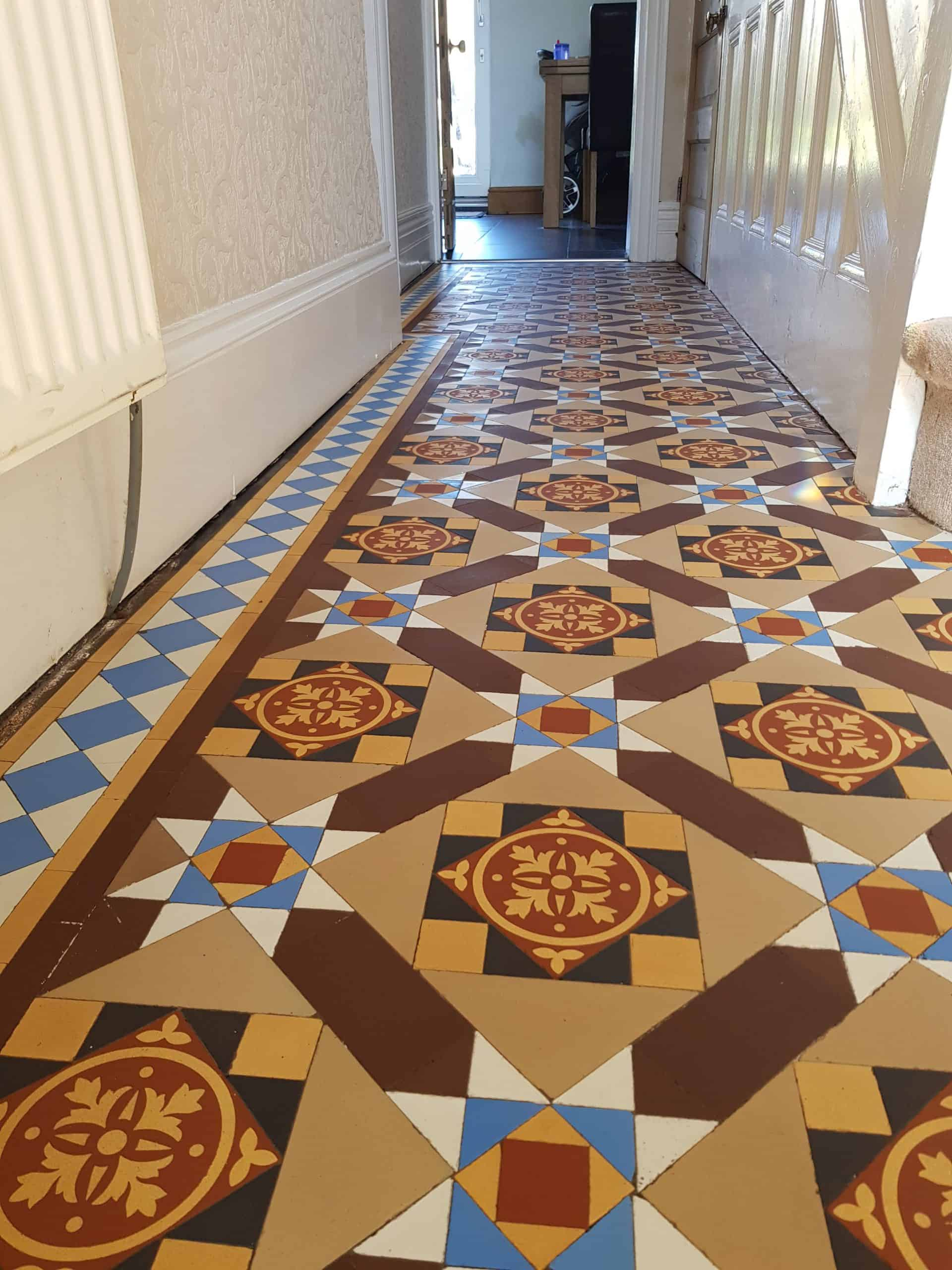 Victorian floor tiles cleaned and restored in Barrow In Furness