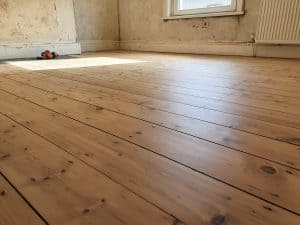 Pine Floorboards Sanded and Varnished