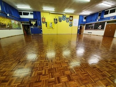 School parquet hall floor sanding