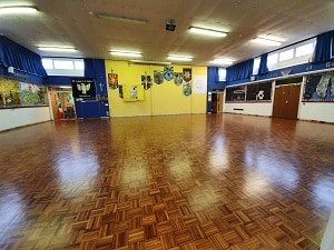 Parquet wooden hall sanded and sealed