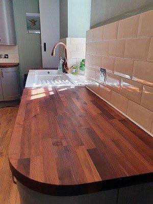 walnut worktop oiled in Kendal