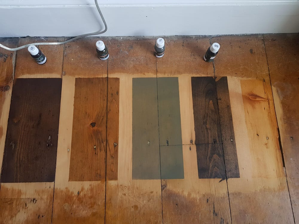 wooden floor staining