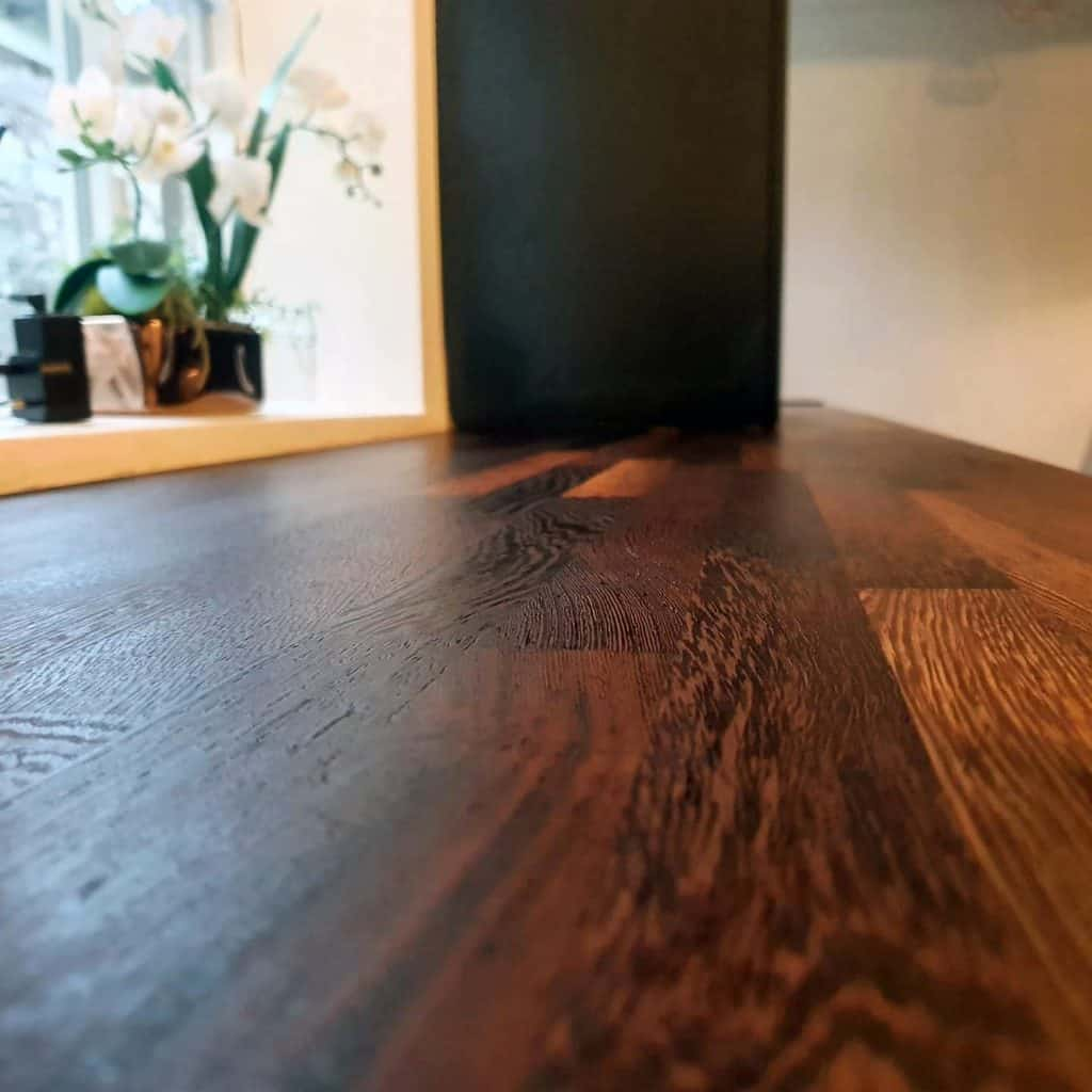 solid wood wenge worktop sanded and restored in Cumbria