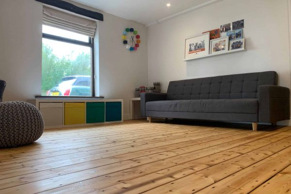 Pine Floorboards Sanded and Varnished